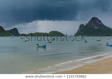 Praia chuvoso temporada ilustração sol mar Foto stock © colematt