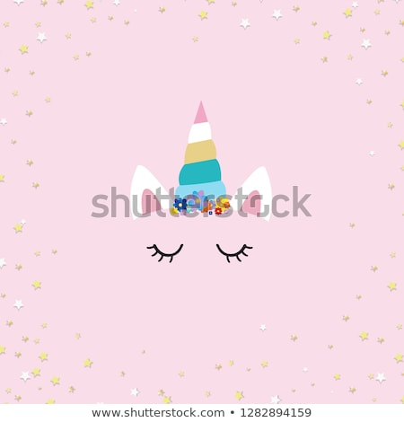 Cute Unicorn Face And Pink Blob Stock photo © cammep