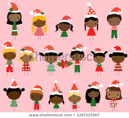 Cute African American Vector Stick Figures In Red And Green Stockfoto © Pravokrugulnik