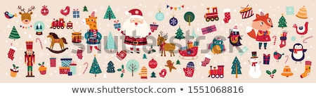 Christmas stickers collection with Christmas gingerbread and wis Stock photo © balasoiu