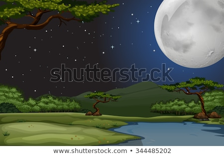 Background scene with fullmoon and river at night Stock photo © colematt
