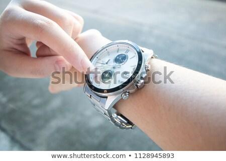 Laat punten horloge pop art retro Stockfoto © studiostoks