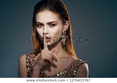 portret · mooie · jonge · vrouw · heldere · gouden · make-up - stockfoto © studiolucky
