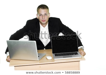 man sitting on chair looking suprised at phone  Stock photo © feedough