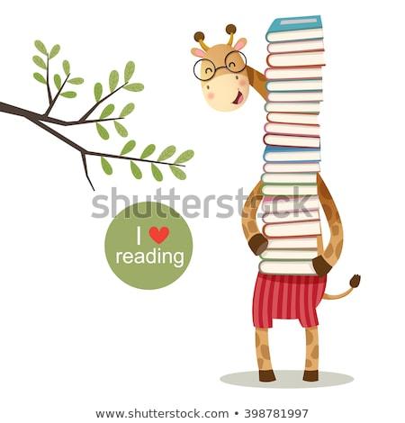 Doodle animal for giraffe reading book stock photo © colematt