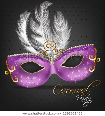 Purple ornamented mask with feathers Vector realistic. Stylish Masquerade Party. Mardi Gras card inv Stock photo © frimufilms