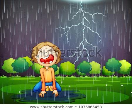 Llorando nino perdido madera lluvia ilustración Foto stock © colematt