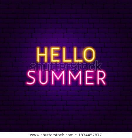 Hello nyár neon címke természet promóció Stock fotó © Anna_leni