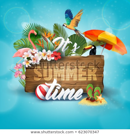 summer time card of tropical plant and flamingo stock photo © cienpies