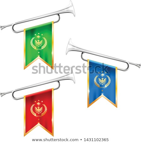 Silver trumpets with royal symbolics - fanfare for victorious, b Stock photo © Winner