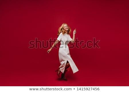 Portré izgatott fiatal fürtös szőke nő lány Stock fotó © deandrobot