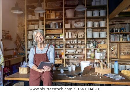 Ligne petit commerce propriétaire jeunes démarrage entrepreneur Photo stock © ijeab