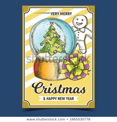 Snow Globe With Decorated Fir-tree Souvenir Color Vector Stock photo © pikepicture