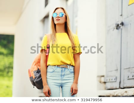 mutlu · genç · kadın · güneş · gözlüğü · dil · insanlar - stok fotoğraf © dolgachov