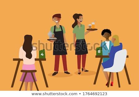 férfi · pincér · adag · vásárló · kávéház · kisvállalkozás - stock fotó © kzenon