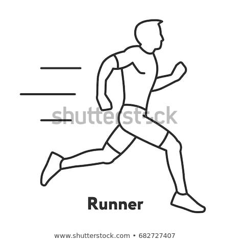 Männlich Athleten Sportler Symbol Vektor Gliederung Stock foto © pikepicture