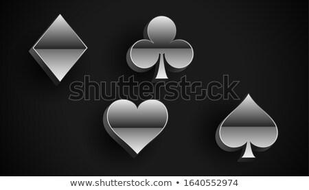 Oynama kart takım elbise semboller gümüş Metal Stok fotoğraf © SArts