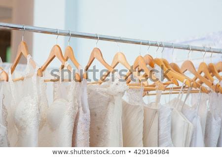 Rack ślub suknie odzież złoty rząd Zdjęcia stock © pressmaster