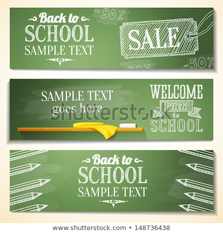 Set of Back to School Label On Green Background Stock photo © ShustrikS