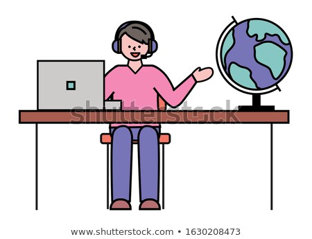 Man werk reisbureau bolvormig aarde wereldbol Stockfoto © robuart