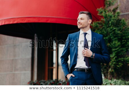Intelligent male banker dressed in formal outfit, keeps hand in pocket, looks thoughtfully aside, tr Stock photo © vkstudio
