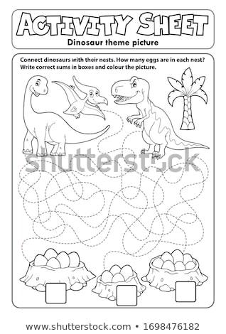 Activité fiche dinosaures nature art éducation Photo stock © clairev