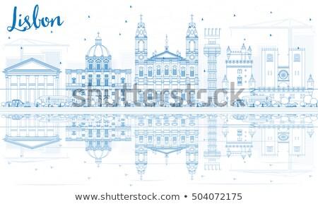 Schets Lissabon skyline Blauw gebouwen Stockfoto © ShustrikS