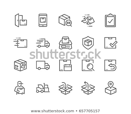 Levering koerier icon vector schets illustratie Stockfoto © pikepicture