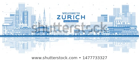Outline Zurich Skyline with Blue Buildings and Reflection. Stock photo © ShustrikS