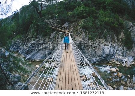 Pont suspendu montagne rivière mère fils femme Photo stock © olira
