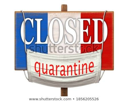 Stock photo: Warning sign with bacteria of Coronavirus on the French flag.
