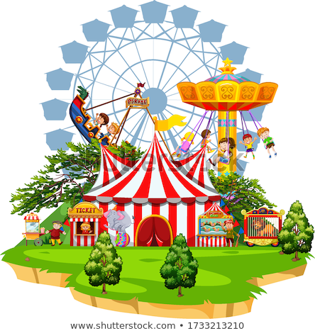 Scene with many rides in the funpark on white background Stock photo © bluering
