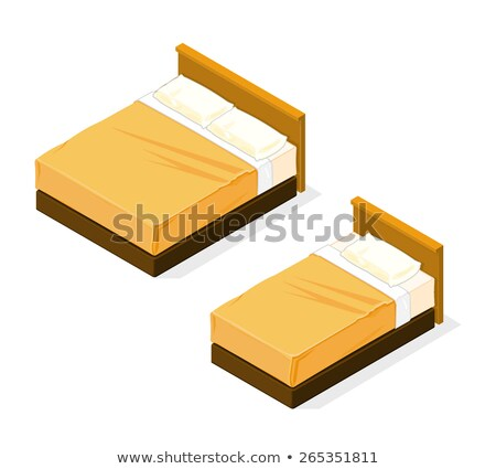 Motel Comfortable Double Bed isometric icon vector illustration Stock photo © pikepicture