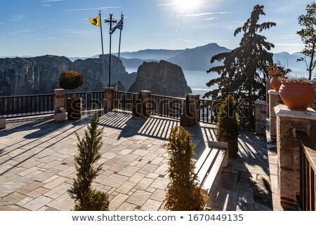 Naplemente égbolt kolostor híres görög turista Stock fotó © dmitry_rukhlenko