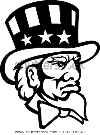 Head of American Symbol Uncle Sam Mascot Black and White Stock photo © patrimonio