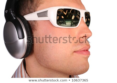 Young man with sunglasses and headphones half-turned stock photo © Paha_L