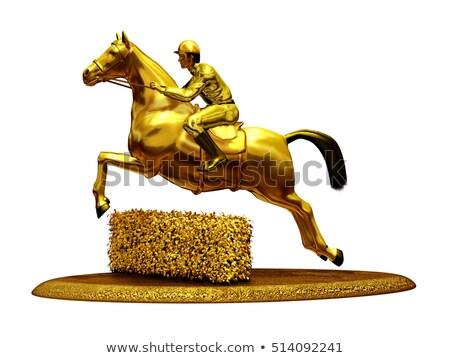 Figurilla caballo viaje espada lucha vintage Foto stock © photography33