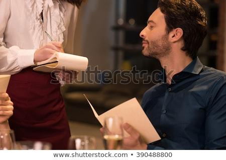 ウエートレス · 注文 · レストラン · 女性 · 紙 - ストックフォト © photography33