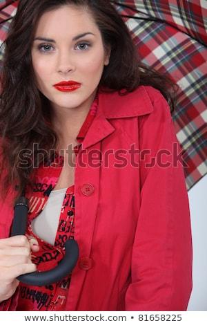 Donna ombrello occhi bianco trucco rossetto Foto d'archivio © photography33