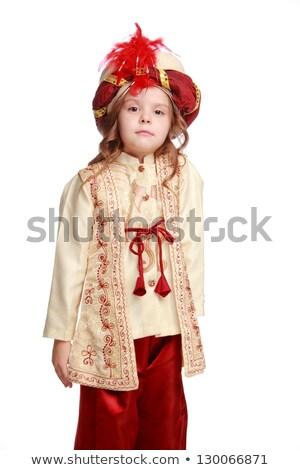 Karnevál jelmez buli aranyos lány művészet Stock fotó © gromovataya
