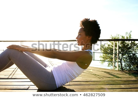 jóga · Karib · fiatal · gyönyörű · nő · tenger · tengerpart - stock fotó © juniart
