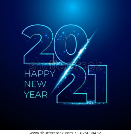 Happy new year 3d metin kırmızı mavi yalıtılmış beyaz Stok fotoğraf © tashatuvango