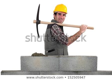 mosolyog · építész · munkavédelmi · sisak · fúrás · fal · bent - stock fotó © photography33