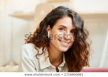 Gerçek genç güzel bir kadın sürpriz sağlık arka plan Stok fotoğraf © Studiotrebuchet