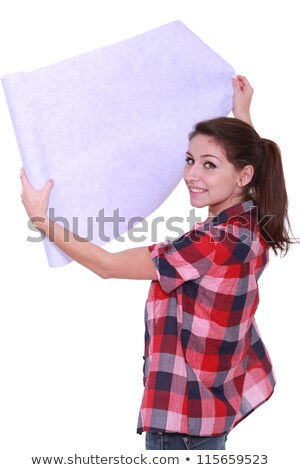 Decorator unrolling wall paper Stock photo © photography33