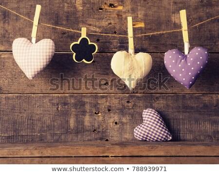 hart · post · houten · papier · Blauw - stockfoto © inxti
