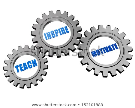 Stock photo: learn, coach and lead in silver grey gearwheels