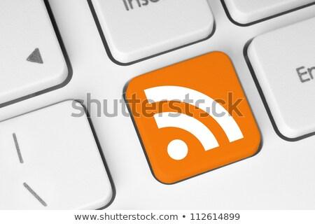 Computer keyboard - orange key Blog, close-up stock photo © maxmitzu