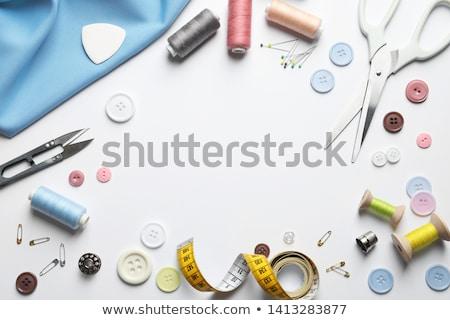 Stockfoto: Naaien · knoppen · schaar · textiel