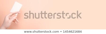 Kéz tart név kártya izolált vágási körvonal Stock fotó © tungphoto
